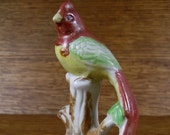 Vintage Wild Exotic Bird Long Tail Feathers Perched on Stump Small Figurine Porcelain Japan