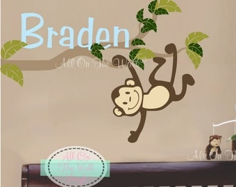 Monkey Wall Decal Name Decals Kids Baby Boy Name Nursery Decal Baby Girl Name Wall Decal Jungle Bedroom Decor Vinyl Wall Decals Wall Letters