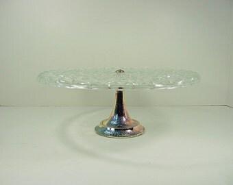 Vintage SILVERPLATE CAKE STAND Cut Glass WEDDiNG Pastry Display Plate Tarnish Patina Brama England