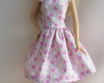 Handmade Barbie Clothes-Pink Print Barbie Dress