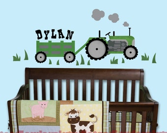 Green Tractor Wall Decal, Farm Name Decal, Boys Room Reusable Fabric Wall Decals, Tractor decals for kids Nursery, Peel and Stick Tractor