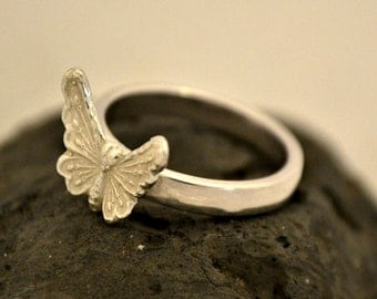 "Silver Butterfly ring.  Sterling silver.  ""fly free"""