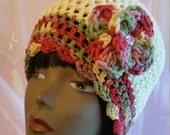 Crochet Flapper Hat  -  Summerset Flower  / free shipping!