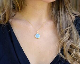 Flashing Rainbow Moonstone Pendant, Gold Moonstone Necklace, 14kt Gold Fill, Delicate Moonstone Necklace