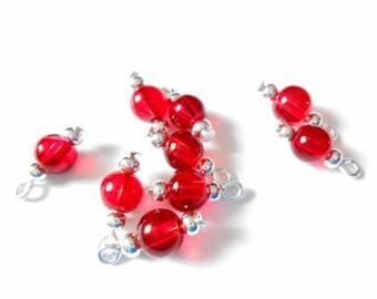 Red Transparent Druk Dangle Beads