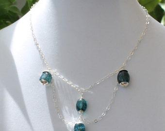 Teal Blue Rutilated Quartz Silver Chain Necklace