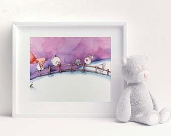 Counting Sheep | Nursery Decor | Illustration Print | Purple and Dark Blue | Wall Art I Baby Room Art | Art Print | Dream Sheep | Counting
