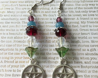 Pentagram Earrings - Limited Edition - Made With Czech Crystals In Elemental Colors of Green, Clear, Red, Blue and Purple Pagan Jewelry