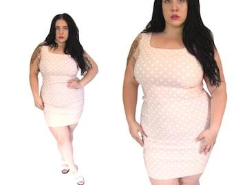 Plus Size Dress l Pink Polka Dot Body Con Mini l Size Large/XL l Vintage Dress