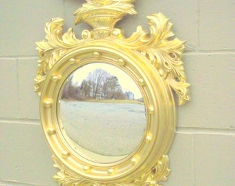 "Federal Bulls Eye Mirror with Eagle & Gold Acanthus Leaves Acorns - X Large 31"" x 21"""