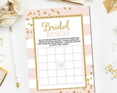 Bridal Shower Bingo Game Pink and Gold , Bingo Bridal Shower Games Glitter Confetti Pink Bridal Shower Game Printable Instant Download BR12