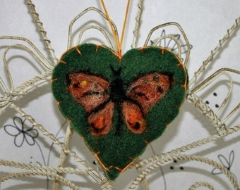 Needle felted heart ornament, Forget me not heart ornament, blue butterfly, butterfly felt heart ornament, green felted heart pincushion