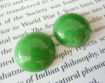 2 glass cabochons, Ø20mm, marbled green, round