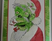 Zombie Card Christmas Hand Painted Watercolor