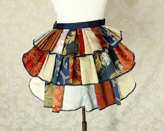 "Patchwork Ruffle Bustle Overskirt - 3 Layer, Sz. XS - Red, Blue, & Ivory - Best Fits Up to 34"" Waist or Upper Hip"