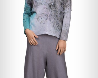 Knitted cotton cropped grey pants by GalaGolansky G203