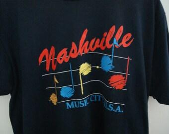 Vintage 90s Nashville Music City U.S.A. T Shirt Large