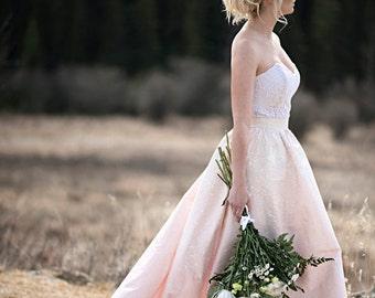 Etta - Daph Wedding Dress /// Full Blush Silk Skirt handpainted//Pockets//Strectch Lace Bustier