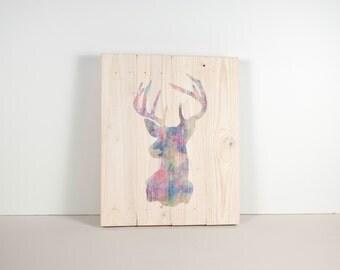 Deer Print, wood print, wall art, Floral Deer, Buck Print, Deer Head, Woodland Art, Deer Art
