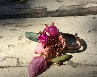 Charm Ring, Gemstone Beads, Aluminum Roses, Faux Pearls, Wire Wrapped, Copper Plated Brass, Adjustable, Fruit Salad, Pink and Green