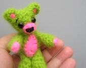 Little teddy bear, miniature bear, bright green, fuzzy soft, crochet animal, amigurumi plush, pink and green, cute animal, small toy