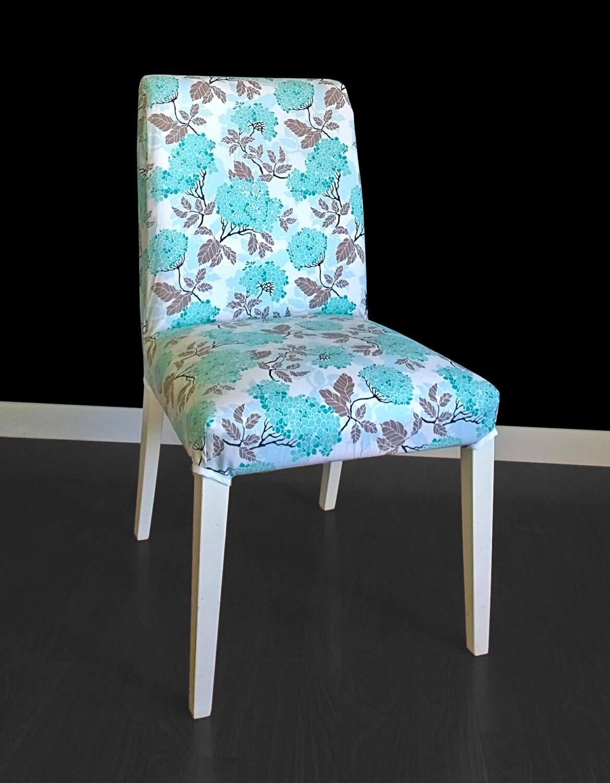 Housse de chaise ikea henriksdal hortensia bleu for Chaise ikea henriksdal
