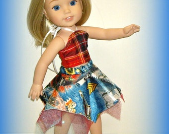 Red and Blue Print Sparkly Skirt, Plaid Top, Handmade by traveller240 to fit 14 Inch Dolls such as Wellie Wishers from American Girl