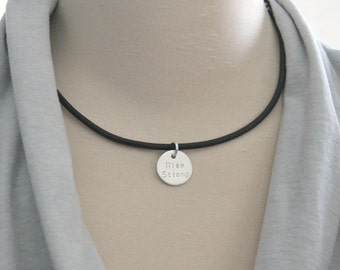 Personalized Choker Necklace, Sterling Silver & Leather Choker, Men's Necklace, Women's Choker, Leather Wrap Bracelet Choker- Koko Necklace