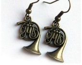 HOLIDAY SALE Music Earrings. Steampunk Antique Brass FRENCH Horn. Gift for Teacher Jazz Band Orchestra, geekery Earrings