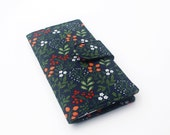 Handmade Wallet, Womens Clutch Wallet, Vegan Wallet, Strawberries and Wildflowers, Navy and Olive