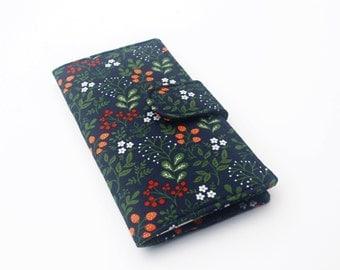 Handmade Wallet, Womens Clutch Wallet, Vegan Wallet, Strawberries and Wildflowers, Navy and Olive