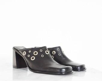 90s Black Leather Square Toe Mules w/ Silver Ringlets / Women's Size 8 US - 38/39 Eur - 6 UK
