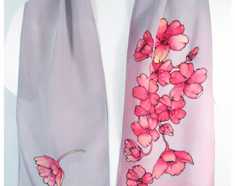 "Hand painted silk scarf. Cherry blossom Silk Scarf. 8x52"" crepe. Handpainted Silk Scarf. Hand-painted Silk Scarves. Painted Silk Scarf"