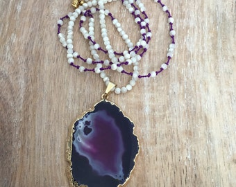 Purple Agate Slice Necklace // Gold Geode, Knotted Silk Cord, White Shell Beaded, Long Layer, Mineral Rock Stone Pendant, Boho Style