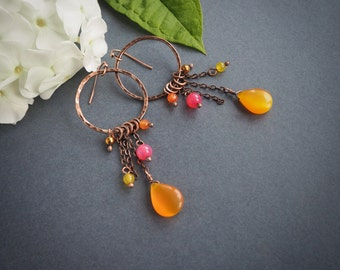 orange boho style copper earrings, hippie style long dangle earrings, summer jewelry, rustic style, gift for her, colorful earrings