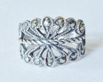 SALE Vintage Sterling Silver Art Nouveau Marcasite Style Band Size 6.5