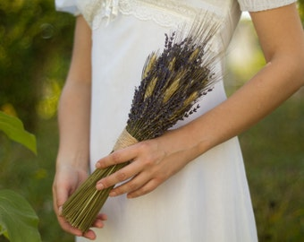 Rustic Lavender Wheat Bridal Bouquet- Real Dried Flowers - Autumn Harvest Fall Wedding READY TO SHIP