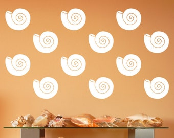 Nautilus Decals | Vinyl Wall Decals | Seashell Decals | Beach Wall Decals | Nautical Wall Decals | Beach Decor |  22576