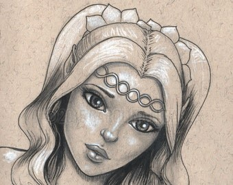 Sketch of an elf with white hair, big eyes, original ink drawing, art