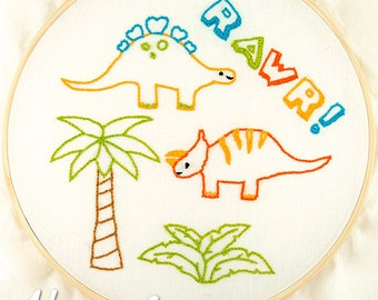 Dinosaurs Hand Embroidery Patterns, dino pattern, dinosaurs, hand embroidery, printable pattern, dinosaur embroidery, needlework, cute