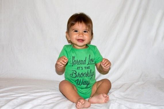 Spread Love, It's the Brooklyn Way | Baby Onesie | Green