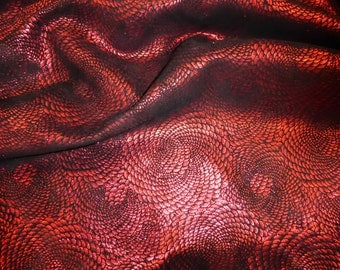 """Leather 12""""x12"""" CHINESE DRAGON Red Metallic On Black Cowhide 3-3.5 oz / 1.2-1.4 mm PeggySueAlso™E1420-12"""