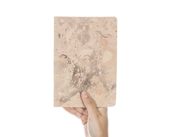 Marmoratus #1 grey - pastel rose cover gold foil letterpress design handmade notebook GLDR5003