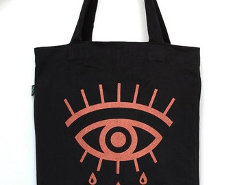 Eye Tote Bag, Geometric Eye, All-Seeing Eye, Black Tote Bag with Copper Print, long handles