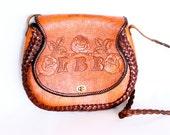 LBR Carved/Tooled Leather Shoulder/Crossbody Bag Floral Design