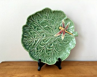 Leaf Platter Bordallo Pinheiro Portugal Green Leaf with Dragonfly Majolica Plate