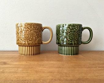 Vintage 70s Stackable Coffee Mugs Made in Japan