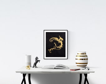 "Gold Dragon Art Print - 11"" x 14"" Screen Print - Black Paper - Made to Order"