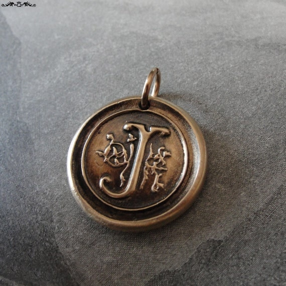 Wax Seal Charm Initial J - wax seal jewelry pendant alphabet charms Letter J by RQP Studio