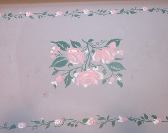 Vintage Bed Tray Hospital Tray 1950 Gray Floral 20 X 13 x 8